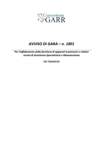 Bando 1801 - Avviso procedura di gara