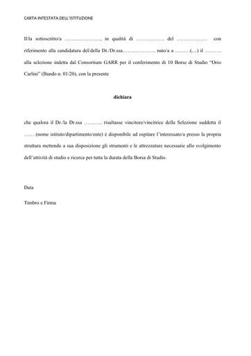 Modello lettera ospitalità Bando 01/20