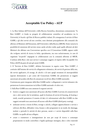 Acceptable Use Policy - AUP - ITA - ver. 06/11/2017