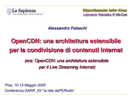 Conferenza GARR 2005 - Presentazione - Falaschi