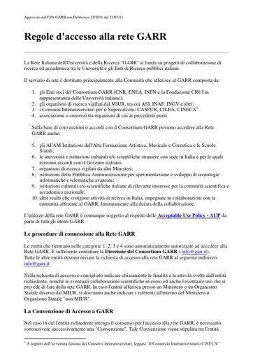 Regole di accesso alla Rete GARR - ver 21/07/2011