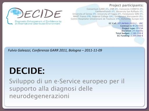 Conferenza GARR 2011 - Presentazione - Galeazzi F.