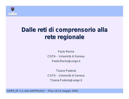 Conferenza GARR 2005 - Presentazione - Podesta