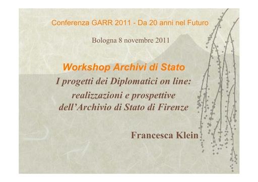 Conferenza GARR 2011 - Presentazione - Klein F.