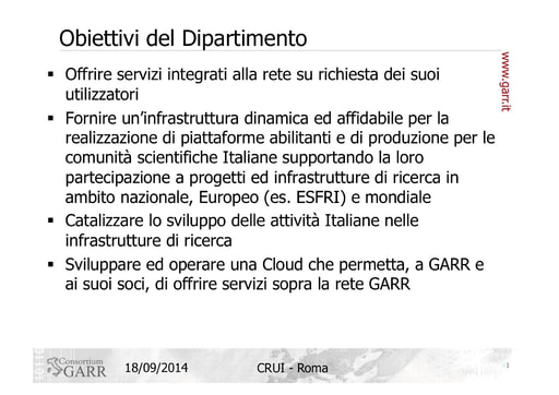 Computing e Storage nel GARR - F. Ruggieri