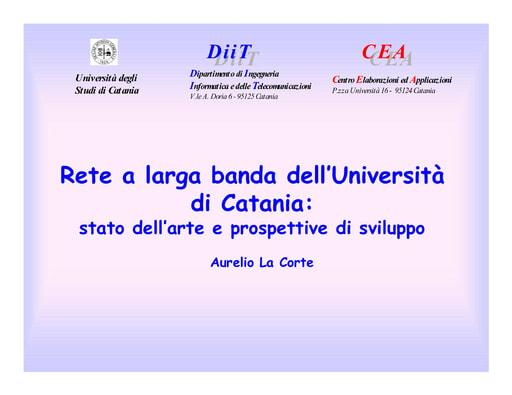 WS04 - La Corte - Rete a larga banda dell'Università di Catania