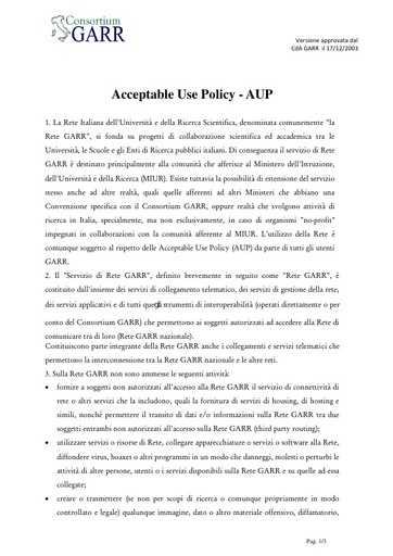 Acceptable Use Policy - AUP - ITA - ver. 17/12/2003