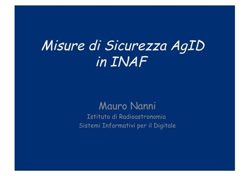 WS18 - M. Nanni - Misure di Sicurezza AgID in INAF
