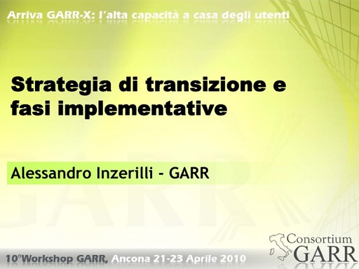 WS10 - Inzerilli - Strategia di transizione e fasi implementative