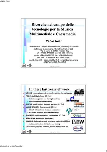 Conferenza GARR 2006 - Presentazione - Nesi