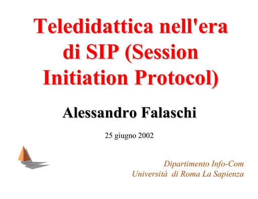 WS04 - Falaschi - La Teledidattica nell'era di SIP