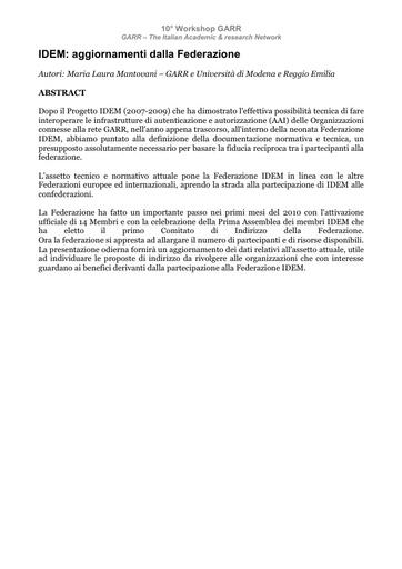 WS10 - Mantovani - Abstract - IDEM: aggiornamenti dalla Federazione