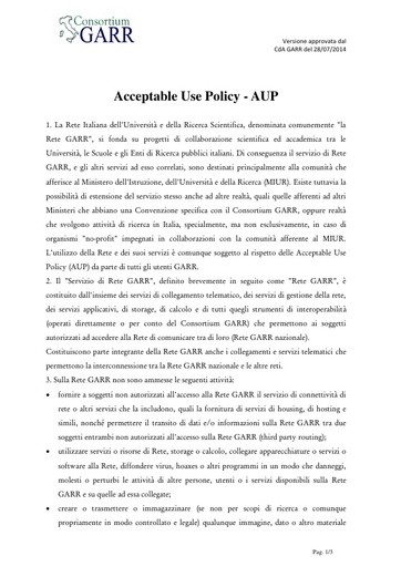 Acceptable Use Policy - AUP - ITA - ver. 28/07/2014