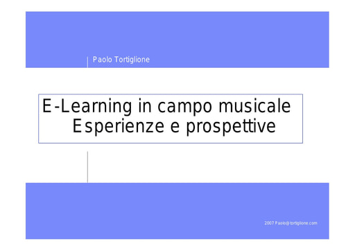 Conferenza GARR 2007 - Presentazione - Tortiglione