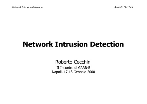 WS02 - Cecchini - Network Intrusion Detection