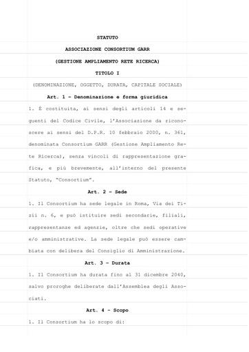 Statuto Consortium GARR - ver. 06/06/2012