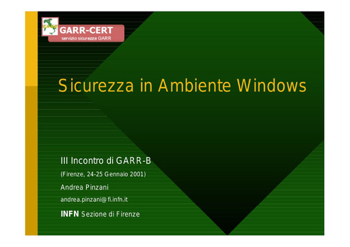 WS03 - Pinzani - Sicurezza in ambiente Windows