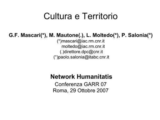 Conferenza GARR 2007 - Presentazione - Mascari