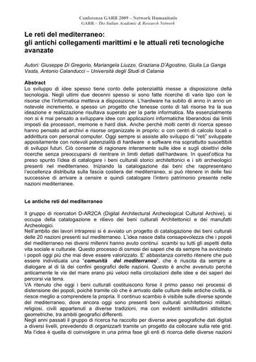 Conferenza GARR 2009 - Abstract - D'Agostino - Vasta - Di Gregorio