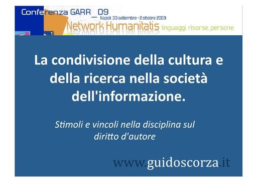 Conferenza GARR 2009 - Presentazione - Scorza