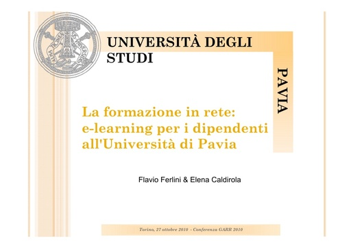 Conferenza GARR 2010 - Presentazione - Ferlini - Caldirola