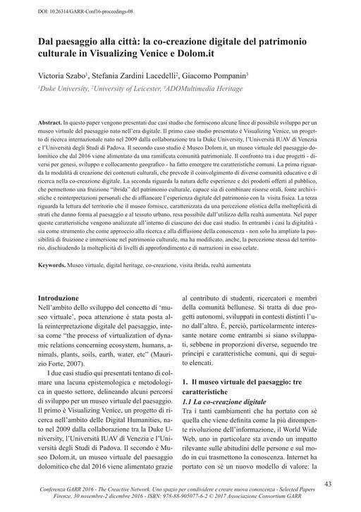 Selected Papers Conferenza GARR 2016 - Szabo, Lacedelli, Pompanin