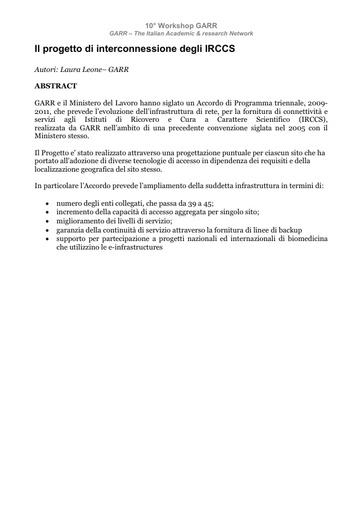 WS10 - Leone - Abstract - Il progetto di interconnessione degli IRCCS