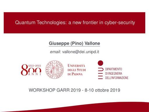 Workshop GARR 2019 - Presentazione - Vallone