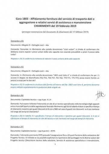 Bando 1803 - Chiarimenti al 19-2-2019