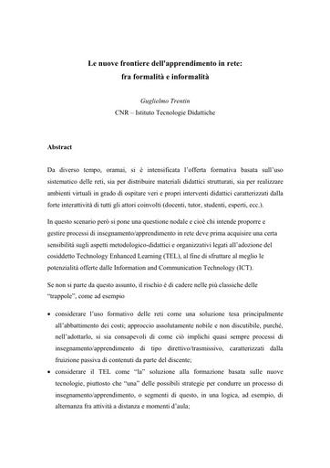Conferenza GARR 2010 - Abstract - Trentin