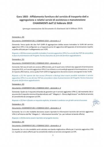 Bando 1803 - Chiarimenti al 12-2-2019