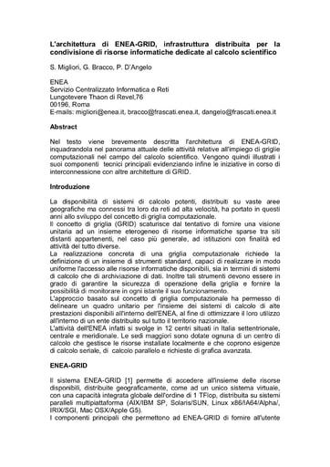 Conferenza GARR 2005 - Abstract - Bracco
