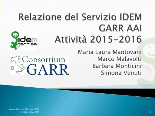 Relazione Servizio IDEM GARR AAI 2015-2016