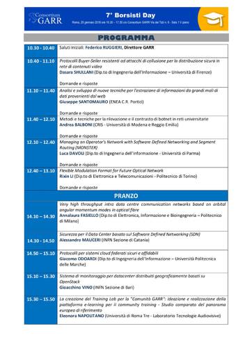 Programma Borsisti Day 7 - 2016