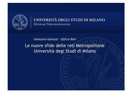 WS18 - G. Galluzzi - Le nuove sfide delle reti metropolitane