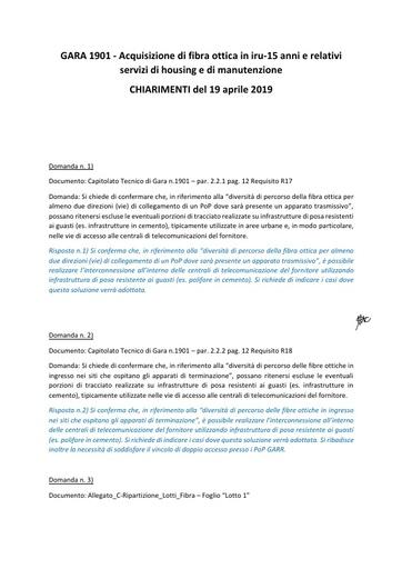 Bando 1901 - Richieste di chiarimento - 19-04-2019