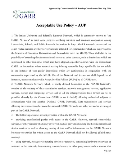 Acceptable Use Policy - AUP - ENG - ver. 28/07/2014