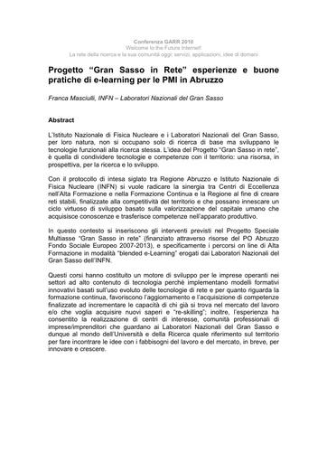 Conferenza GARR 2010 - Abstract - Masciulli