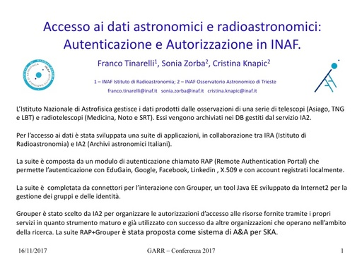 Conferenza GARR 2017 - Presentazione - Tinarelli