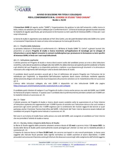 """Bando Borse di Studio """"Orio Carlini"""" 01/20"""