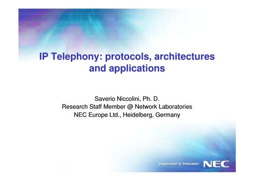 Conferenza GARR 2005 - Presentazione - Niccolini