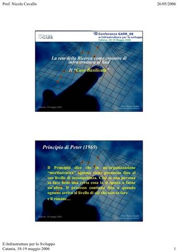 Conferenza GARR 2006 - Presentazione - Cavallo
