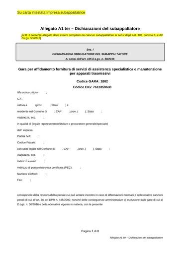 Bando 1802 - Allegato A1ter - Dichiarazione subappaltatore
