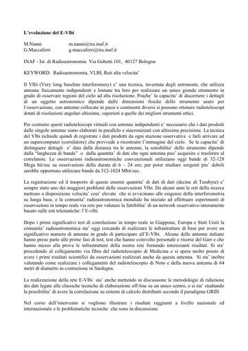 Conferenza GARR 2005 - Abstract - Nanni - Maccaferri