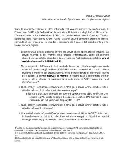Dipartimanto per la trasformazione digitale - Risposte alle domande - 14/01/2021