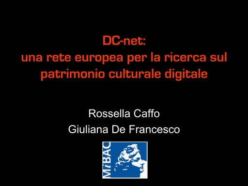 Conferenza GARR 2009 - Presentazione - Caffo - De Francesco
