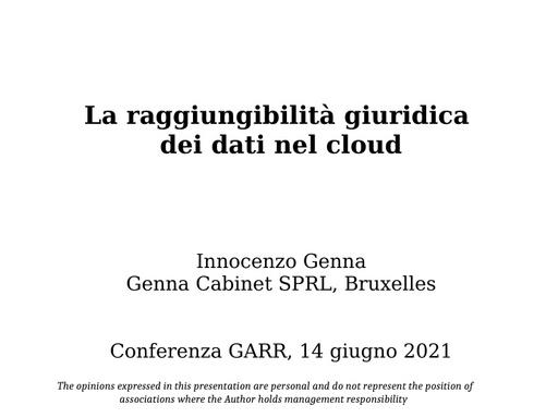 Conferenza GARR 2021 - Presentazione - Genna