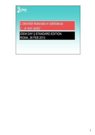 IV IDEM Day - presentazione - Mantovani M. L.