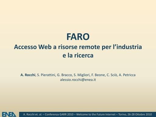 Conferenza GARR 2010 - Presentazione - Rocchi