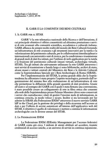 Sitar13 - Atti del III Convegno SITAR - Battista - Vario - Il GARR e la comunità dei beni culturali